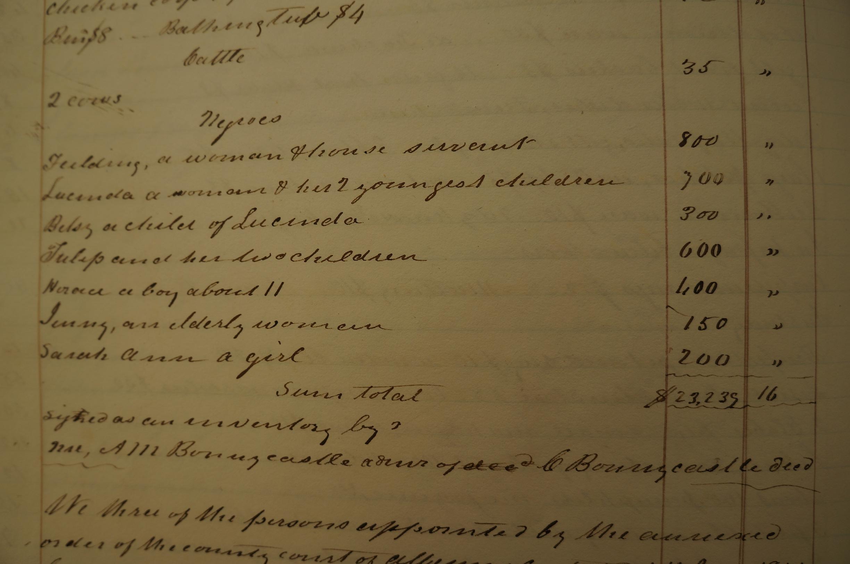 Estate Appraisement 1841